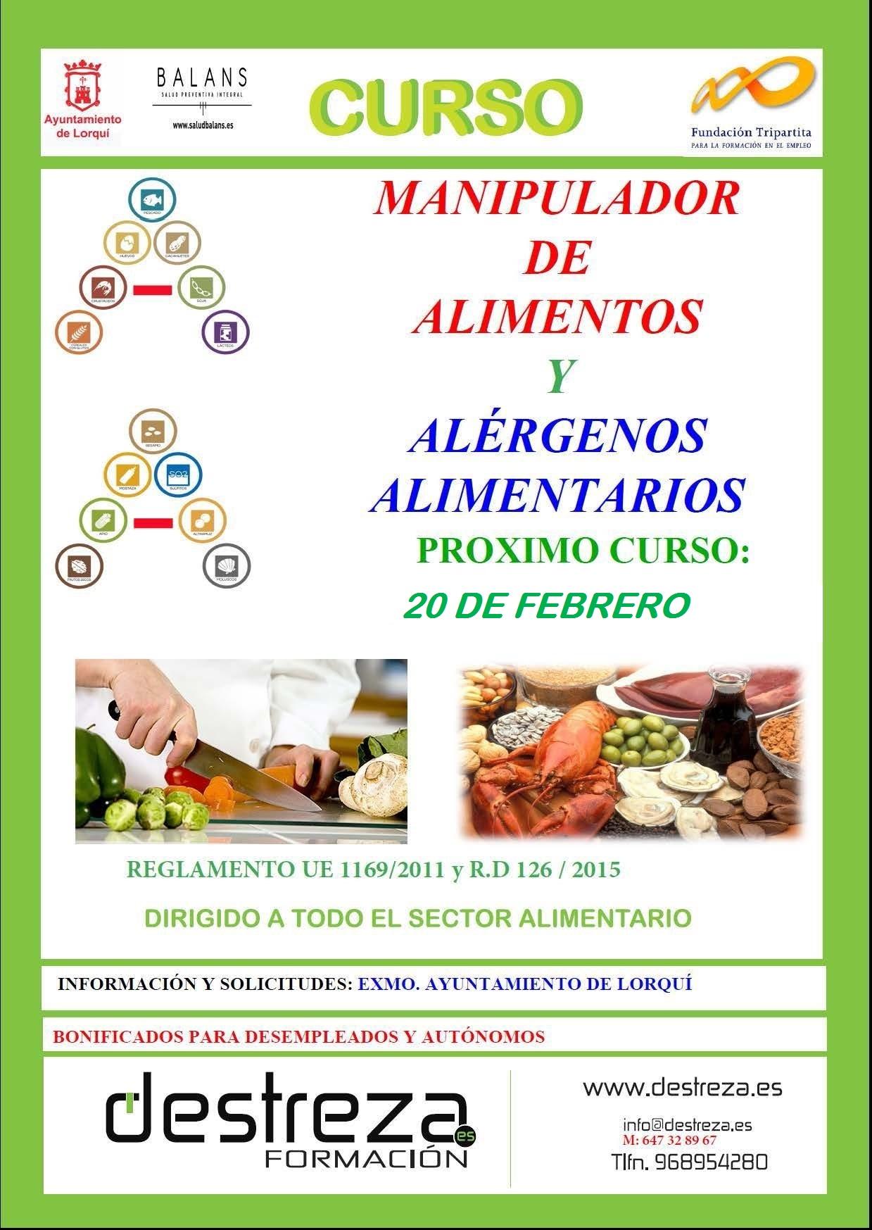 curso de manipulador de alimentos y alérgenos alimentarios