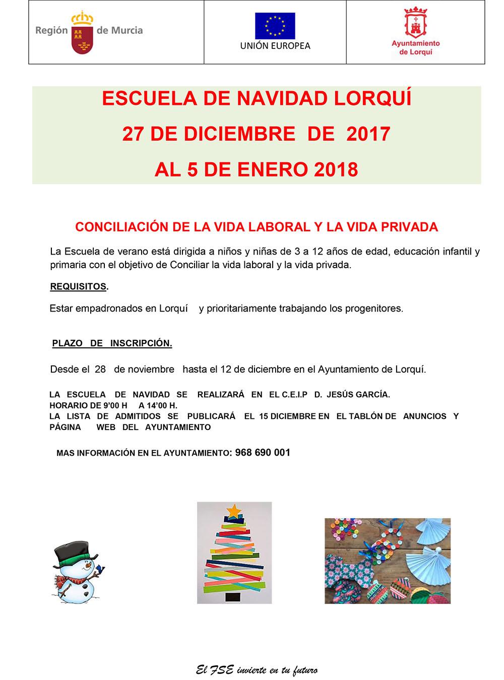 cartel ESCUELA DE navidad 2017