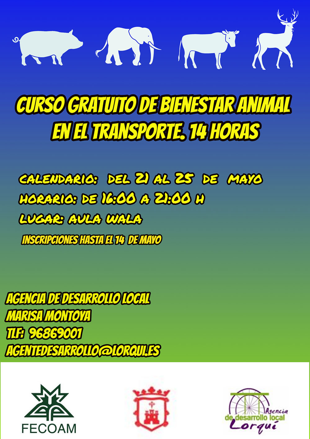 Cartel transporte de animales