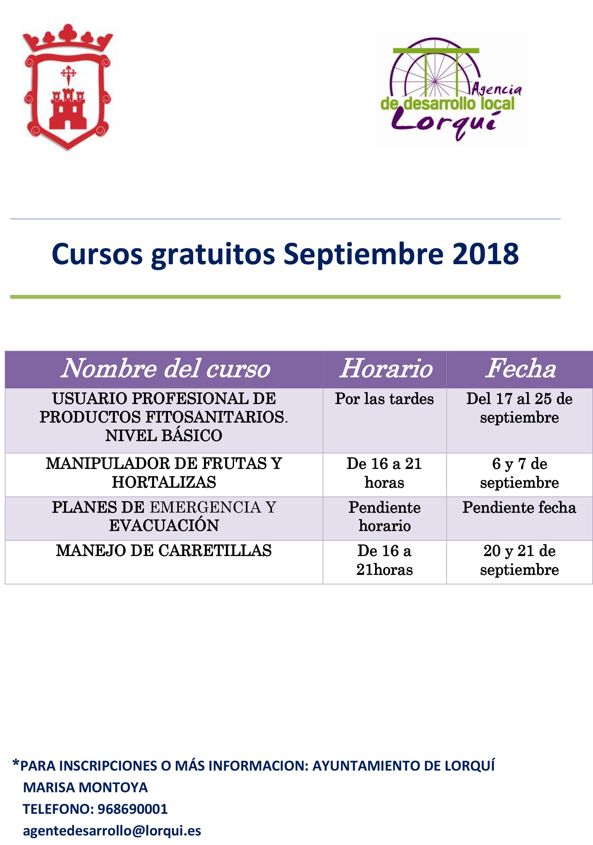 Cursos gratuitos Septiembre 2018