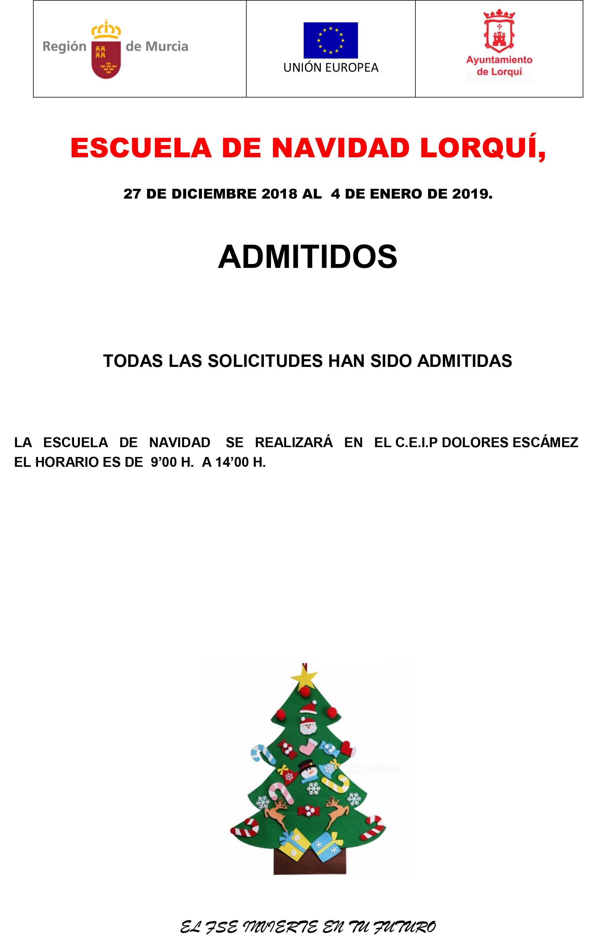 cartel   admitidos  escuela de navidad 2018