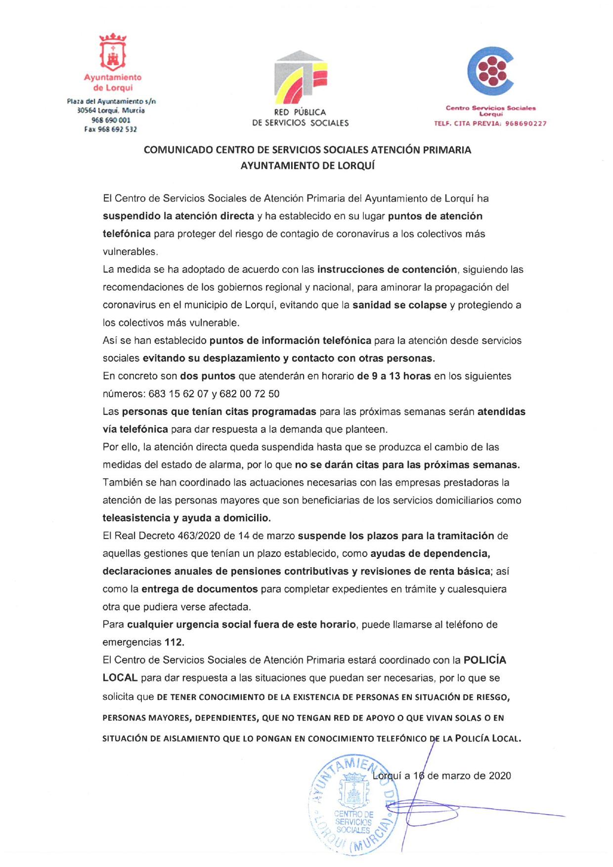 COMUNICADO OFICIAL DEPARTAMENTO SERVICIOS SOCIALES