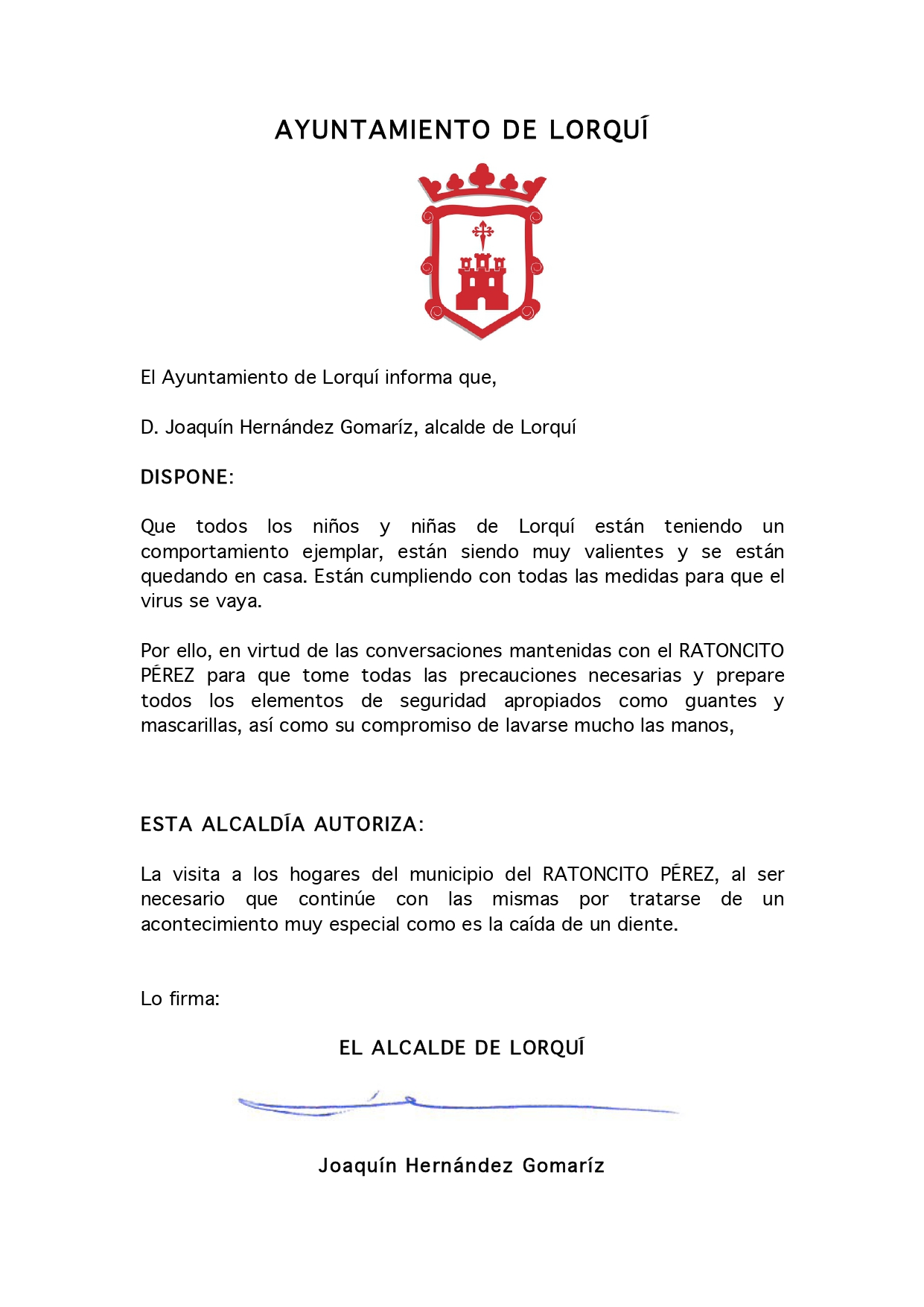 COMUNICADO OFICIAL PARA LOS NIÑOS Y NIÑAS DE LORQUÍ