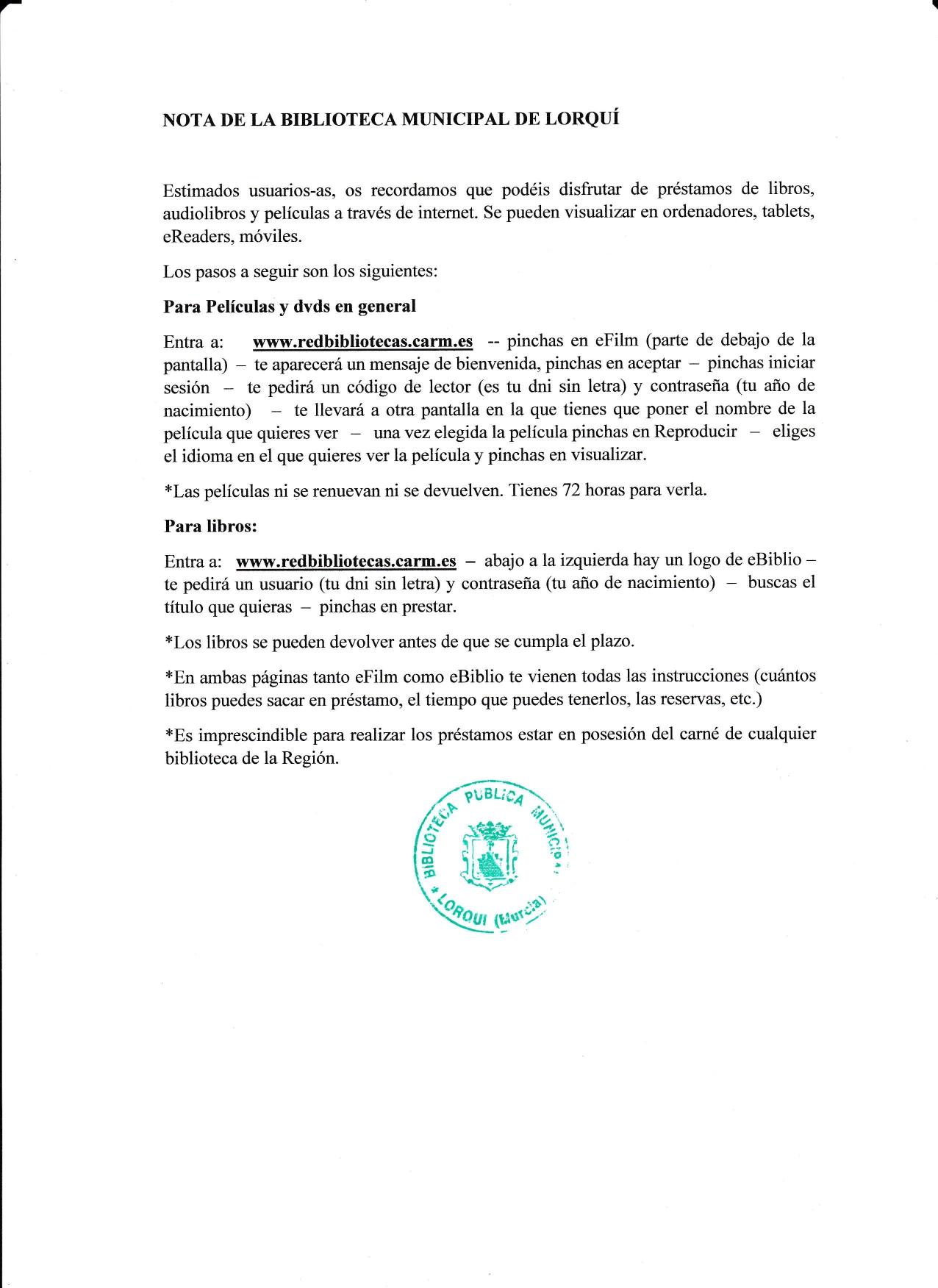 NOTA DE LA BIBLIOTECA MUNICIPAL DE LORQUÍ